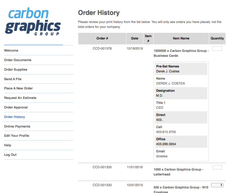 Print Direct Order History
